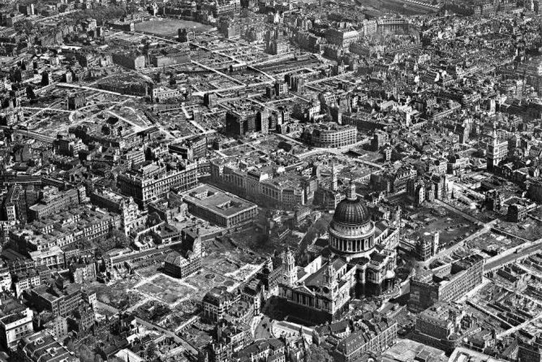 WW2 bomb damage around St Paul's Cathedral, London in 1946