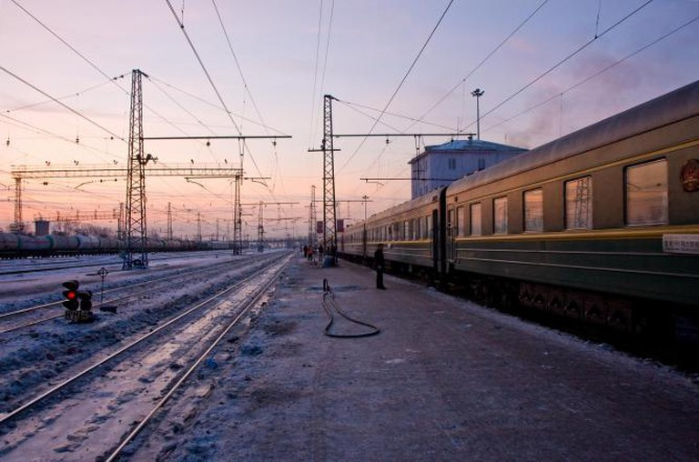 The Trans-Siberian Express at a station in Mongolia © Garrett Ziegler/Flickr