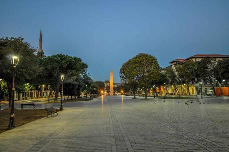 Hippodrome of Constantinople and Obelisk of Theodosius on Sultanahmet Meydanı square