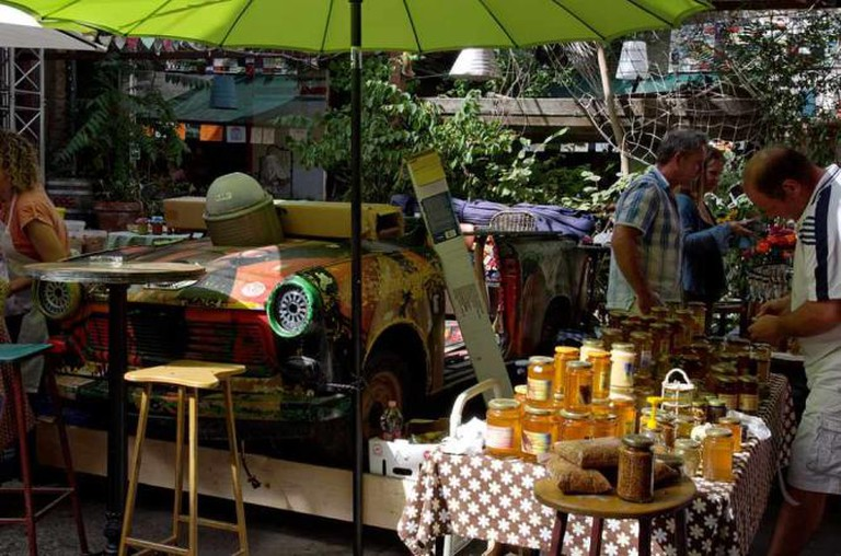 Farmer's market at Szimpla Kert, a ruin bar in Budapest