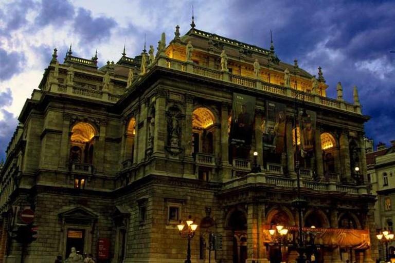 Hungarian State Opera House at night