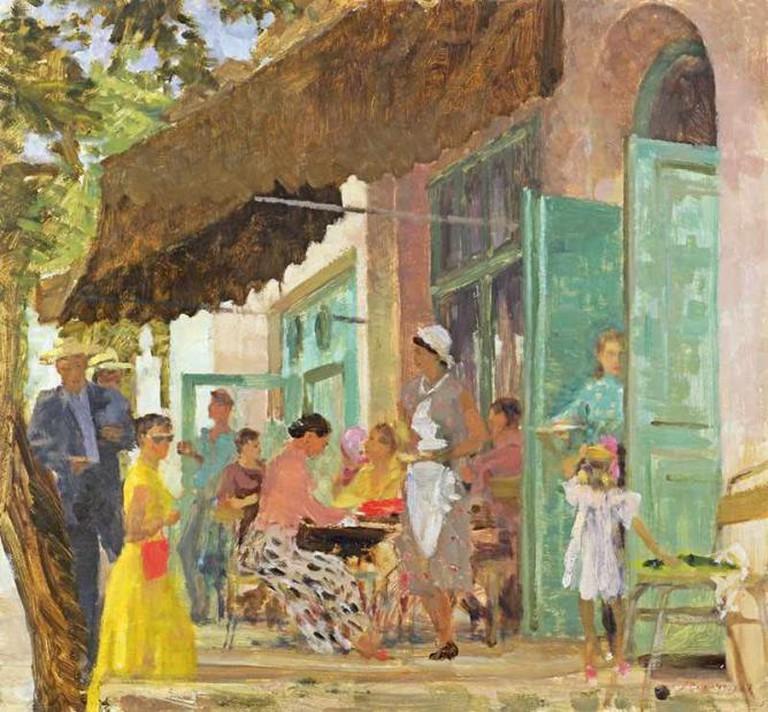 Alexander Nikolayevich Samokhvalov, Cafe in Gurzuf, 1956 | © Иванов С. В./WikiCommons