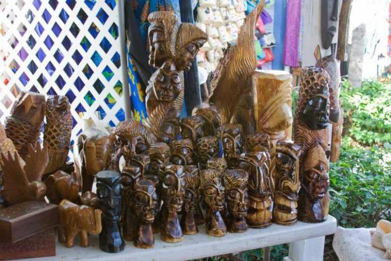 Wood Bahamian statues