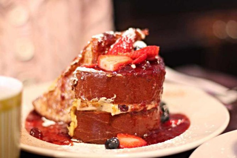 The stuffed challah french toast dish at Sabrina's Cafe.