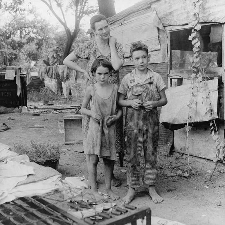 Poor mother and children, 1936, Elm Grove, Oklahoma County, OK