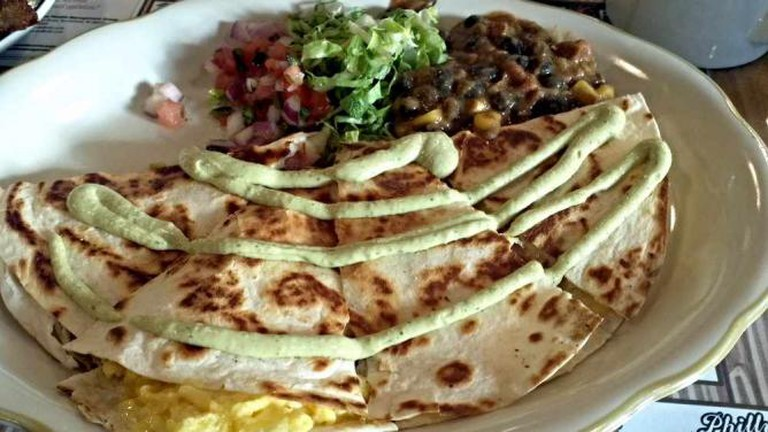 The breakfast quesadillas, shown here, and Mexican-inspired brunch dishes are some of their most popular.