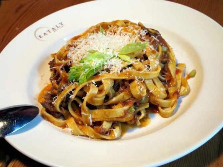 Fettuccine con Coda alla Vaccinara at the Eataly Restaurant