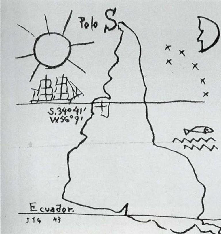 Inverted Map © Joaquín Torres García/Museo Nacional de Artes Visuales/Wikicommons