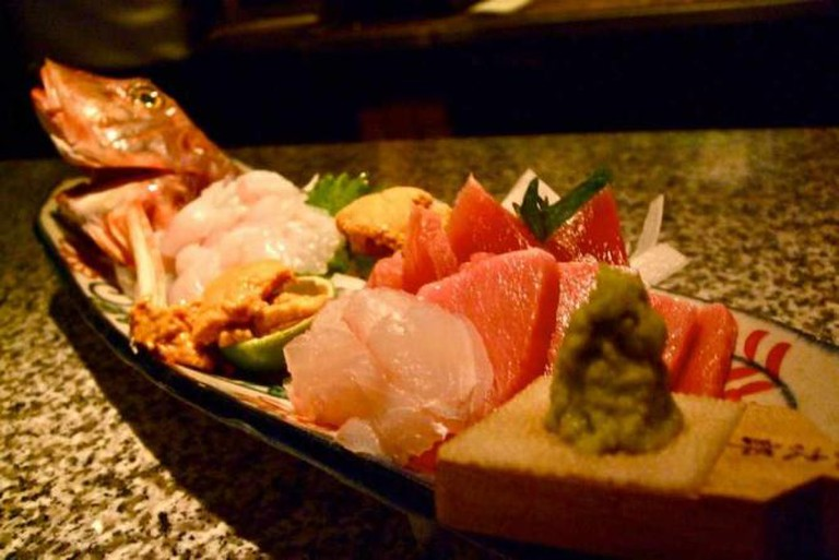 A raw sushi specialty at the modern and upscale Tei-An restaurant.