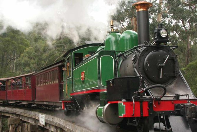 Train over Trestle Bridge