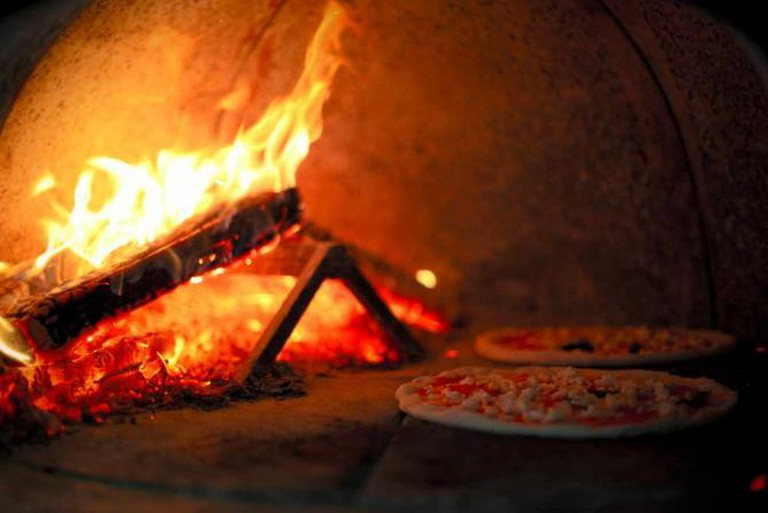wood oven fired pizza