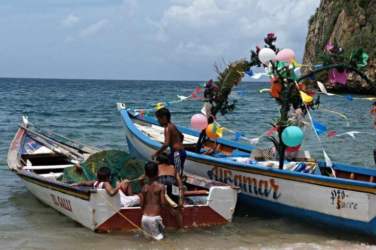 Boats Decorated for the Festival of the Virgen del Valle
