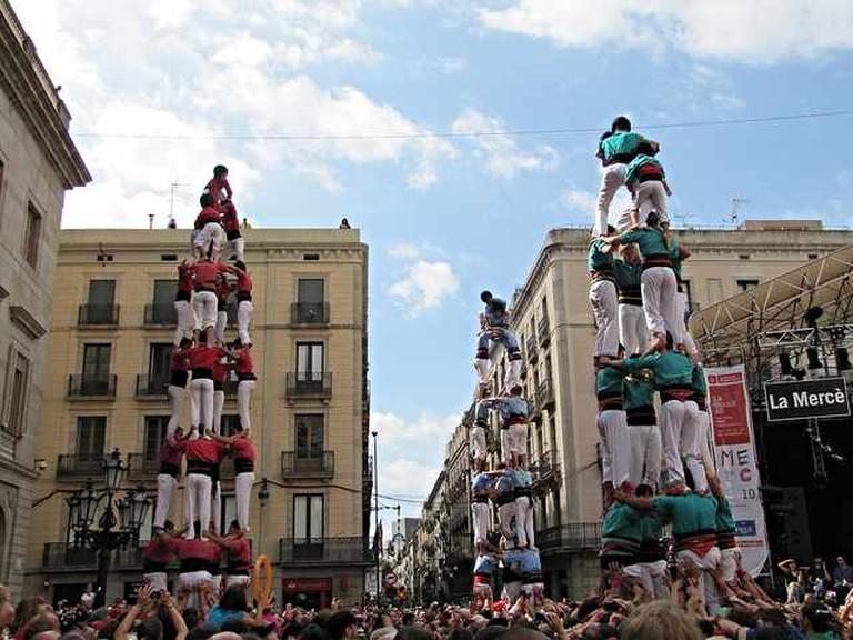 Castellers in Plaça Sant Jaume