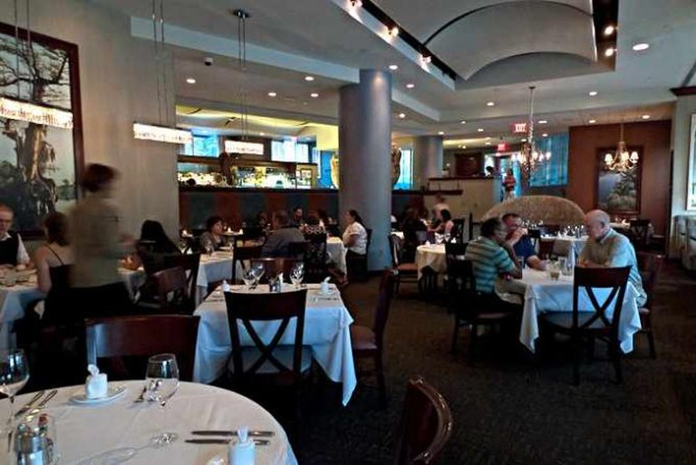 The modern dining room at Acadiana Restaurant.