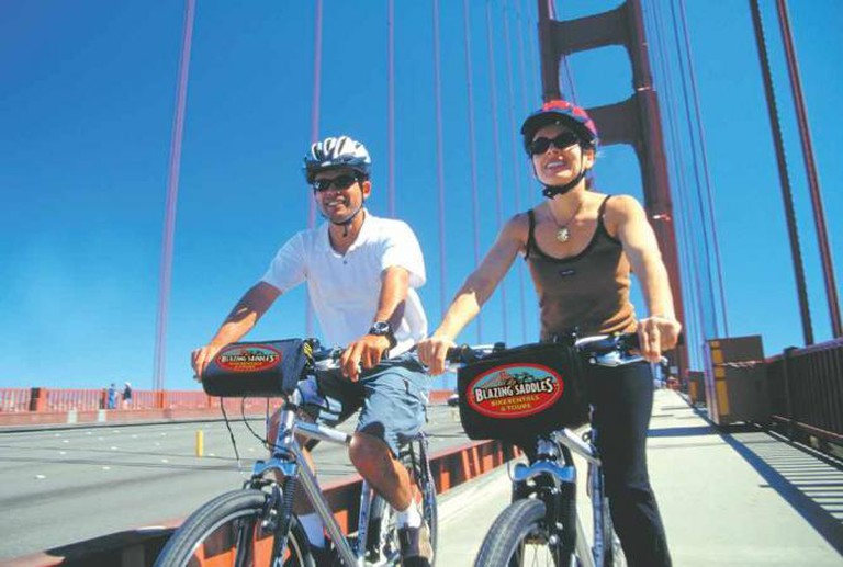 Cyclists on the Golden Gate Bridge | Photo provided by Blazing Saddles Bike Rentals & Tours