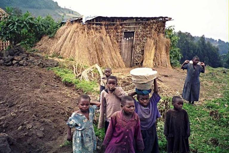 Rwandan Children Outside Volcans National Park