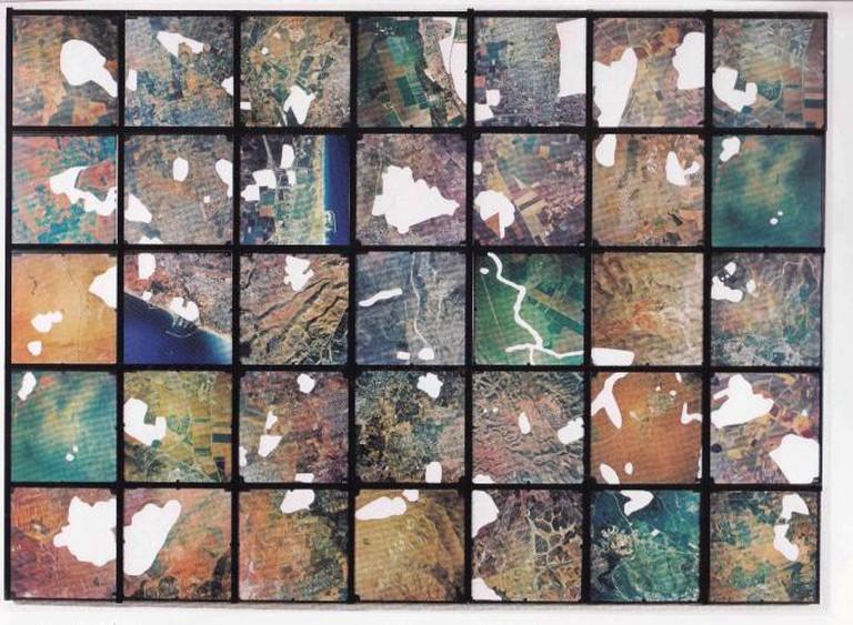 Ariane Littman, White Land, 2001, 35 Censored aerial photographs,35 x 35 cm | © Ariane Littman