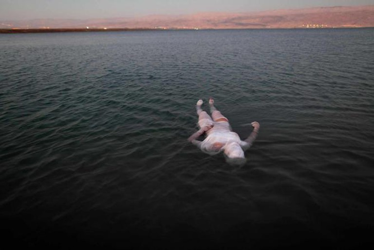 Ariane Littman, Sea of Death 2010,Performance at the Dead Sea, video, Photograph Jim Hollander | © Ariane Littman and Jim Hollander