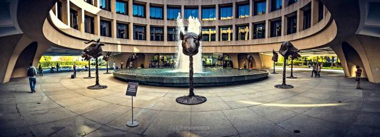 The courtyard of Hirshhorn's shows off its eclectic mix of sculptures.
