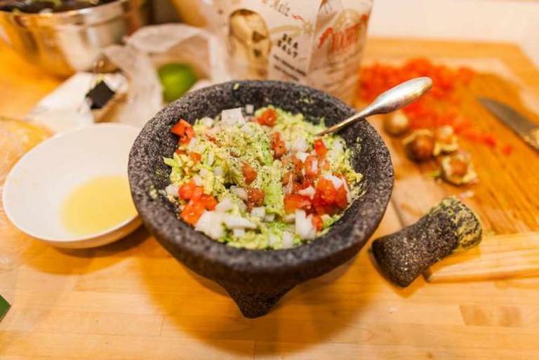 Guacamole in a molcajete