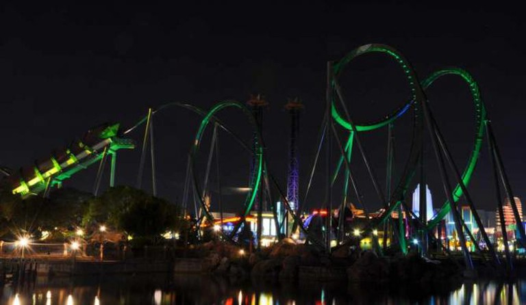 The Hulk Coaster at night