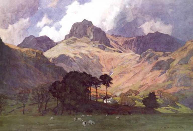 Langdale Pikes & Oak Howe Farm by Alfred Heaton Cooper