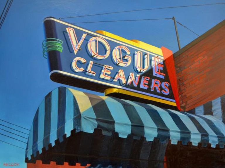 'Vogue Cleaners' from a sign in Birmingham, Alabama. Oil on panel | © Amanda H. Cook