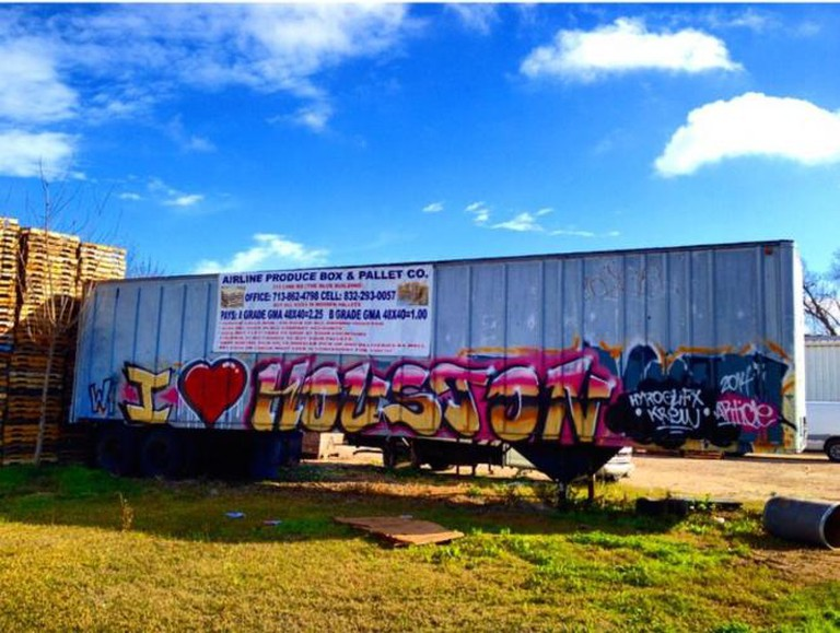 Showing Houston some love on the side of a train car.