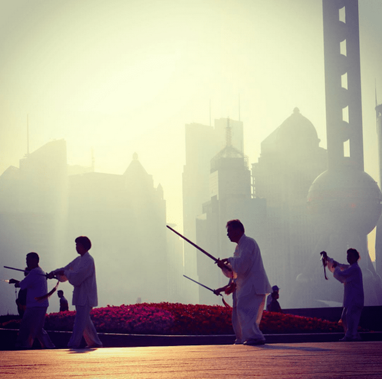 Morning tai chi on the Bund
