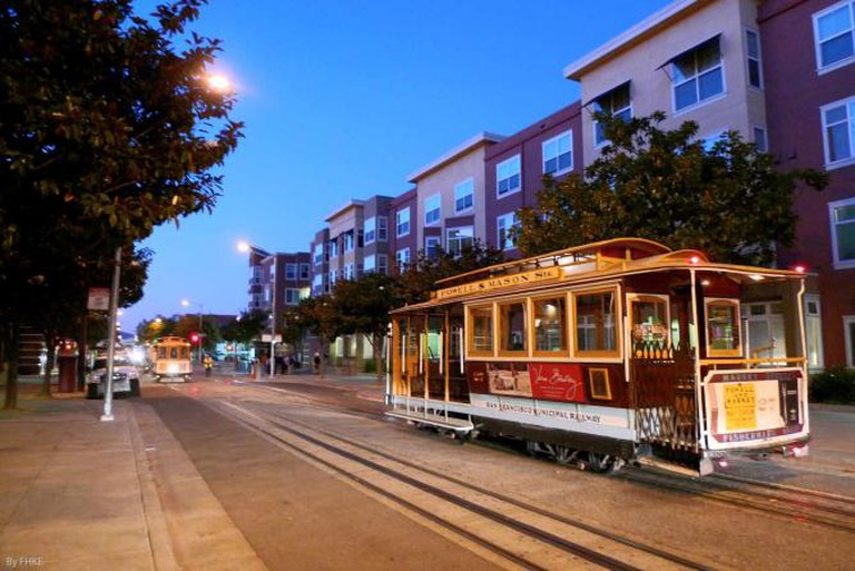 Cable cars at night