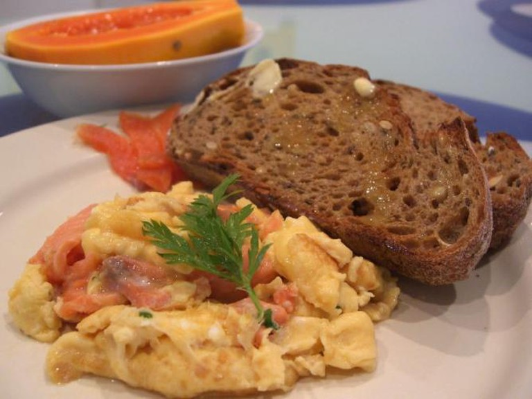Smoked Salmon Scrambled Eggs with Brown Toast