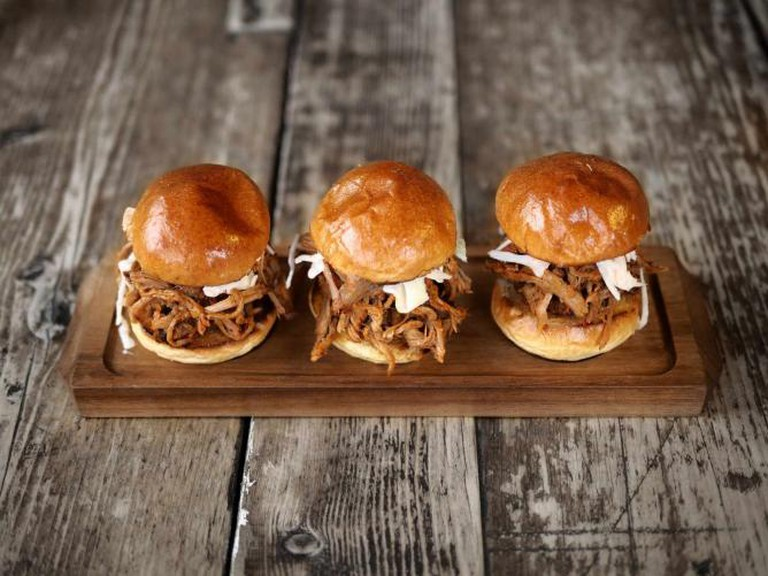 Sliders at Duke's Brew and Que