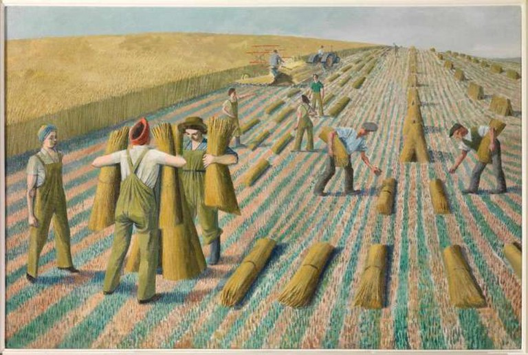Evelyn Dunbar - Men Stooking and Girls Learning to Stook | The Artist's Estate, courtesy of Liss Llewellyn Fine Art