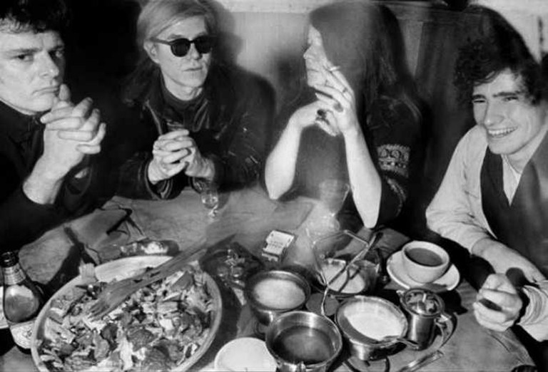 Left to right: Paul Morrissey, Andy Warhol, Janis Joplin, Tim Buckley in 1968