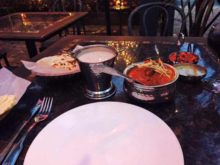 Plate setting at Ambrosia India Bistro | Courtesy of Jerri Anne Rinker Carroll, Ambrosia India Bistro