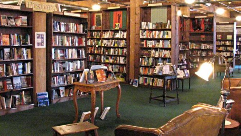 The interior of the large selection of the Tattered Cover's bookstore, complete with comfy sofas.