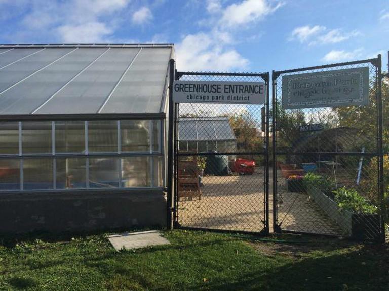 Entrance to the Kilbourn Park Organic Greenhouse