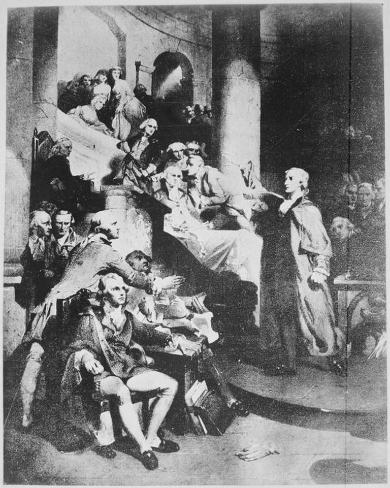 Patrick Henry in the House of Burgesses | © WikiCommons/Engraving from painting by P.F. Rothermel