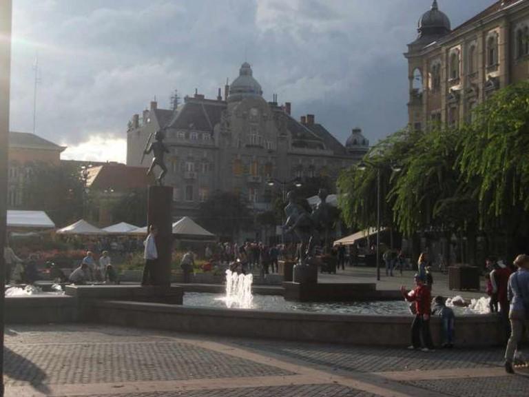 Szombathely Main Square with the fountain
