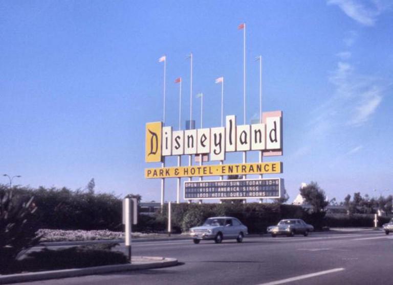 Disneyland sign, Harbor Blvd, Anaheim, 1974