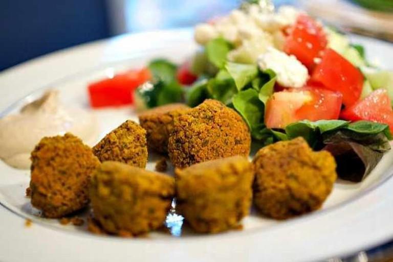 Homemade Falafel with Tahini Sauce and Greek Salad