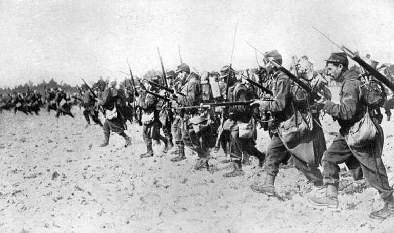 Photograph of an actual bayonet charge by French soldiers typical of the gallantry and spirit they display in action