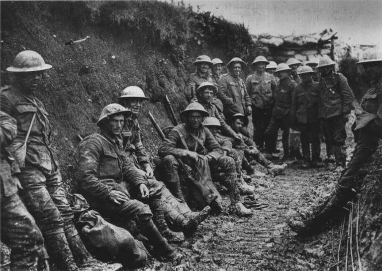 Soldiers in the trench on the first day on the Somme; the unit is possibly the 1st Battalion, Royal Irish Rifles (25th Brigade, 8th Division).