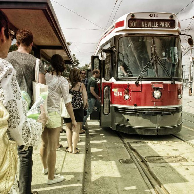 Boarding the 501 Streetcar on the tour | Courtesy of Foodies on Foot