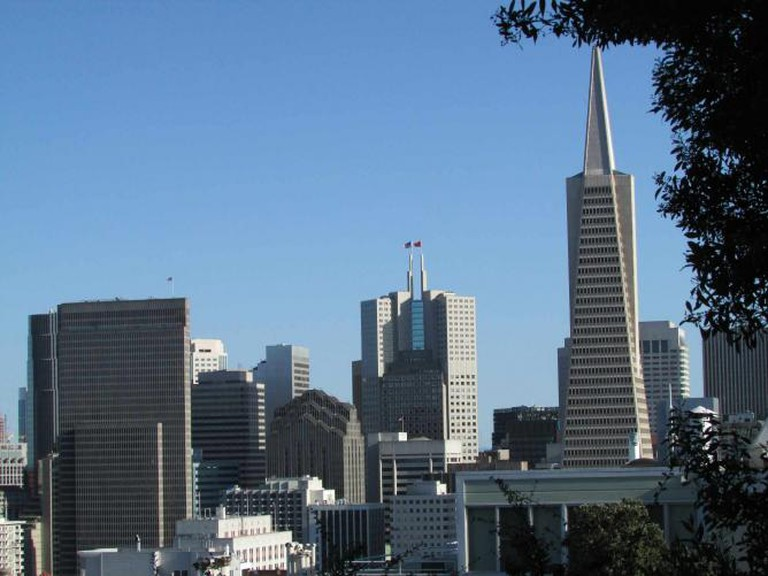 View of the Transamerica Pyramid and other skyscrapers from Coit Tower