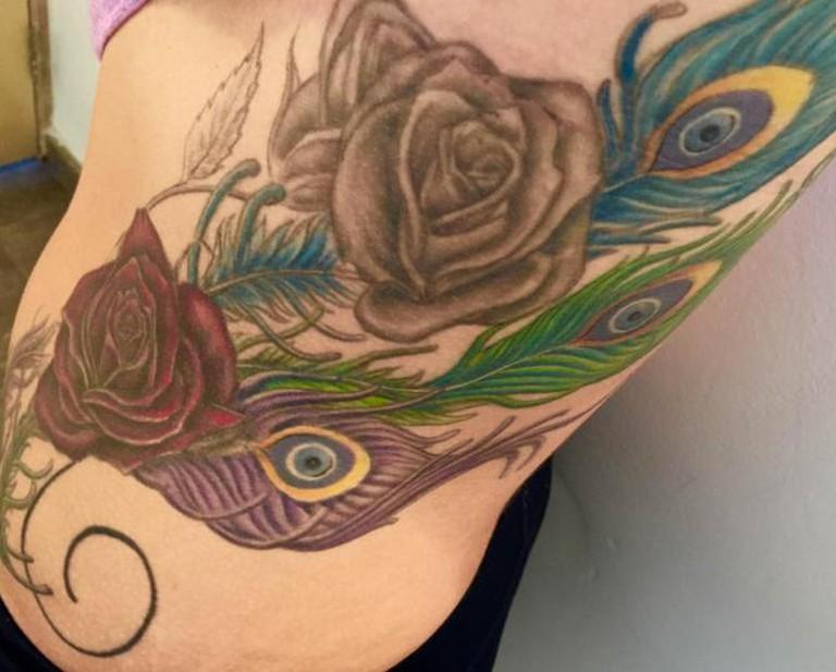 Peacock Roses/Evil Eyes Will Protect | ©nandotatuajes