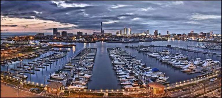 Boats by the Atlantic City bay.