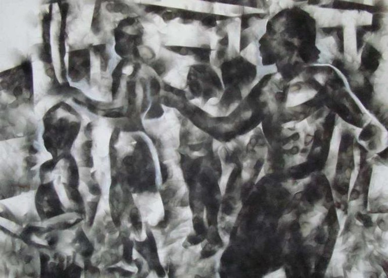 Darkies (ancient ritual), Carbon (Smoke) on canvas | © Courtesy of Darius Etienne