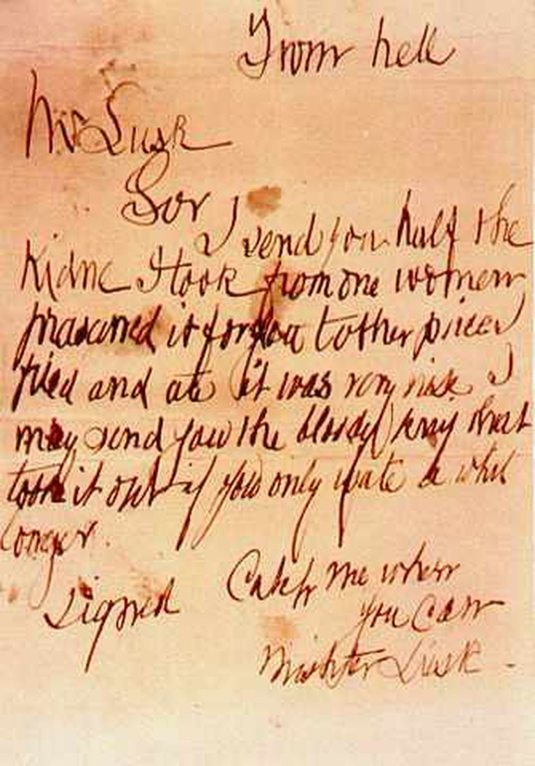 The 'From Hell' Letter sent to the Metropolitan Police Service on 16th October 1888 © wikicommons