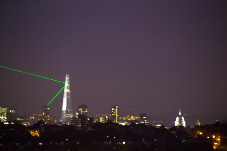 The Shard Laser Display as seen from Alexandra Palace terrace